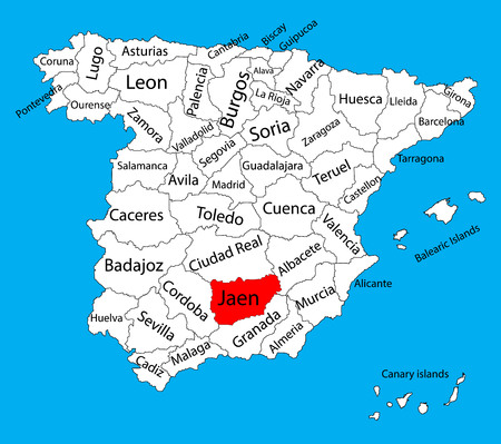 Jaen map, Spain province vector map. High detailed vector map of Spain with separated regions isolated on background. Spain autonomy areas map. Editable vector map of Spain.