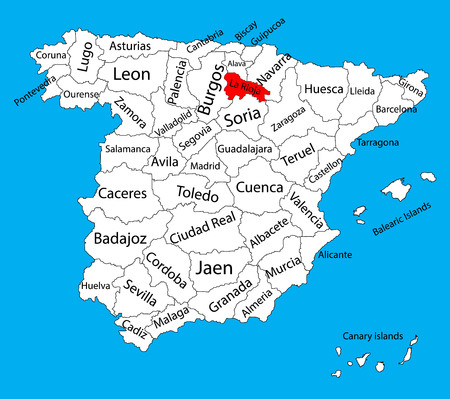 La Rioja map, Spain province vector map. High detailed vector map of Spain with separated regions isolated on background. Spain autonomy areas map. Editable vector map of Spain. 일러스트