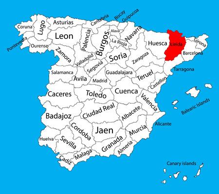 Carte de Lerida, carte vectorielle de la province de l'Espagne. Haute carte vectorielle détaillée de l'Espagne avec des régions séparées isolées sur le fond. Carte des régions d'autonomie de l'Espagne. Carte vectorielle modifiable de l'Espagne.