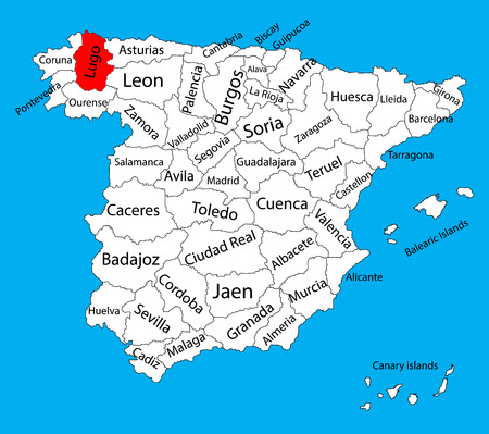 Lugo map, Spain province vector map. High detailed vector map of Spain with separated regions isolated on background. Spain autonomy areas map. Editable vector map of Spain.