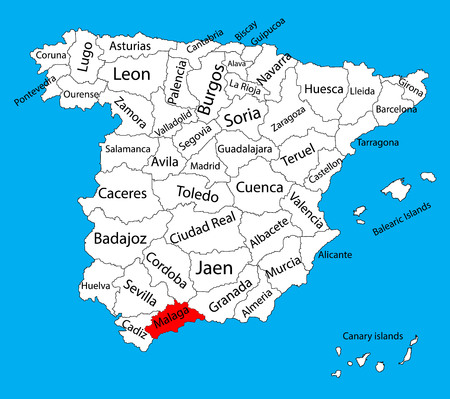 Malaga map, Spain province vector map. High detailed vector map of Spain with separated regions isolated on background. Spain autonomy areas map. Editable vector map of Spain.