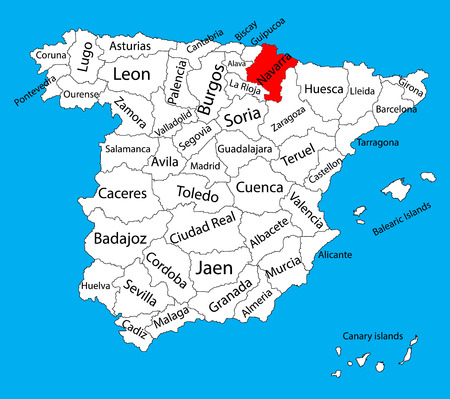 Navarra map, Spain province vector map. High detailed vector map of Spain with separated regions isolated on background. Spain autonomy areas map. Editable vector map of Spain.