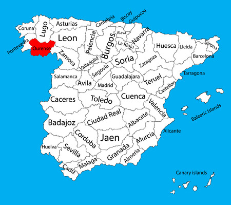 Orense map, Spain province vector map. High detailed vector map of Spain with separated regions isolated on background. Spain autonomy areas map. Editable vector map of Spain.