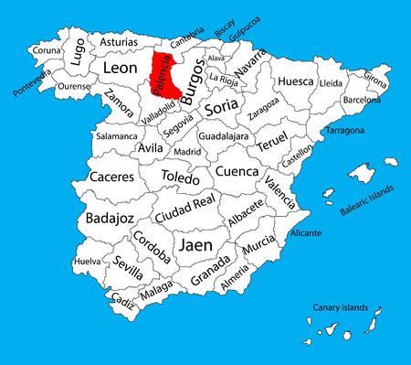 Carte de Palencia, carte vectorielle de la province d'Espagne. Carte vectorielle détaillée détaillée d'Espagne avec des régions séparées isolées sur le fond. Carte des zones d'autonomie en Espagne. Carte vectorielle modifiable d'Espagne.