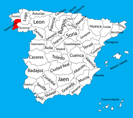 Pontevedra map, Spain province vector map. High detailed vector map of Spain with separated regions isolated on background. Spain autonomy areas map. Editable vector map of Spain.