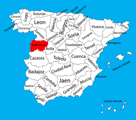 guadalajara: Salamanca map, Spain province vector map. High detailed vector map of Spain with separated regions isolated on background. Spain autonomy areas map. Editable vector map of Spain. Illustration