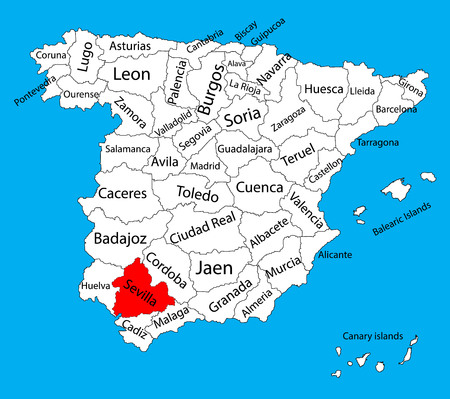 Sevilla map, Spain province vector map. High detailed vector map of Spain with separated regions isolated on background. Spain autonomy areas map. Editable vector map of Spain. 일러스트