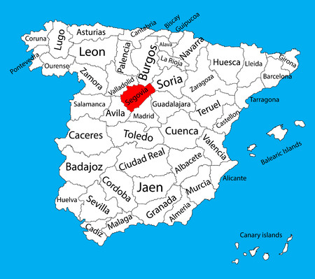 Segovia map, Spain province vector map. High detailed vector map of Spain with separated regions isolated on background. Spain autonomy areas map. Editable vector map of Spain. Illustration