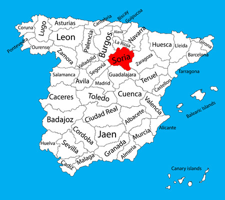 Soria map, Spain province vector map. High detailed vector map of Spain with separated regions isolated on background. Spain autonomy areas map. Editable vector map of Spain.