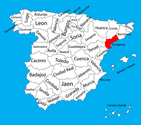 Tarragona map, Spain province vector map. High detailed vector map of Spain with separated regions isolated on background. Spain autonomy areas map. Editable vector map of Spain.