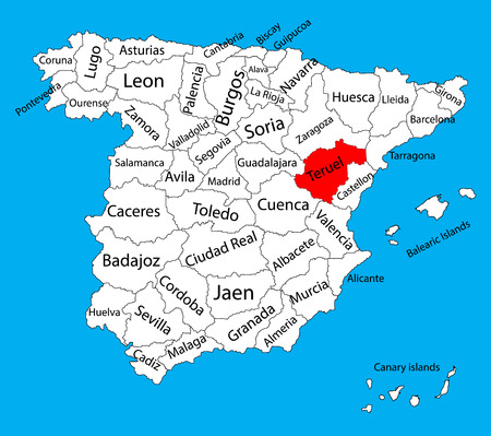 Teruel map, Spain province vector map. High detailed vector map of Spain with separated regions isolated on background. Spain autonomy areas map. Editable vector map of Spain. Illustration