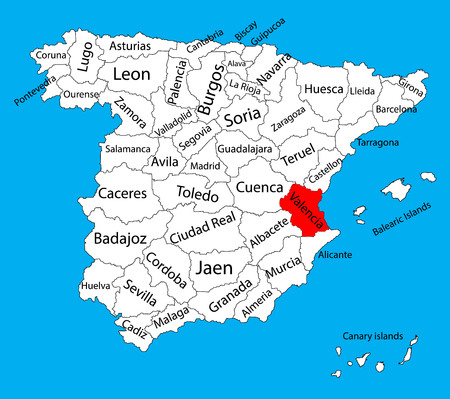 Valencia map, Spain province vector map. High detailed vector map of Spain with separated regions isolated on background. Spain autonomy areas map. Editable vector map of Spain. Stock Illustratie