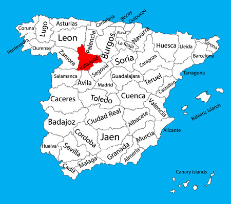 Valladolid map, Spain province vector map. High detailed vector map of Spain with separated regions isolated on background. Spain autonomy areas map. Editable vector map of Spain. 일러스트