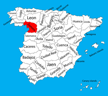 leon: Zamora map, Spain province vector map. High detailed vector map of Spain with separated regions isolated on background. Spain autonomy areas map. Editable vector map of Spain.