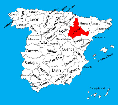 Zaragoza map, Spain province vector map. High detailed vector map of Spain with separated regions isolated on background. Spain autonomy areas map. Editable vector map of Spain.