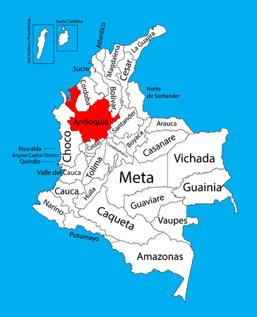 antioquia: Vector map of region of Antioquia, Colombia editable vector map.  Administrative divisions of Colombia editable map.