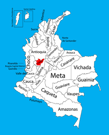 Vector map of region of Caldas, Colombia editable vector map.  Administrative divisions of Colombia editable map. Vectores