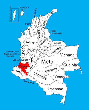 Vector map of region of Cauca, Colombia editable vector map.  Administrative divisions of Colombia editable map. Illustration