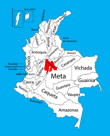 Vector map of region of Cundinamarca, Colombia editable vector map. Administrative divisions of Colombia editable map.