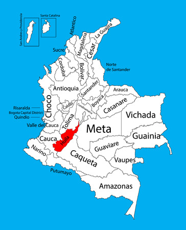 Vector map of region of Huila, Colombia editable vector map.  Administrative divisions of Colombia editable map. Illustration
