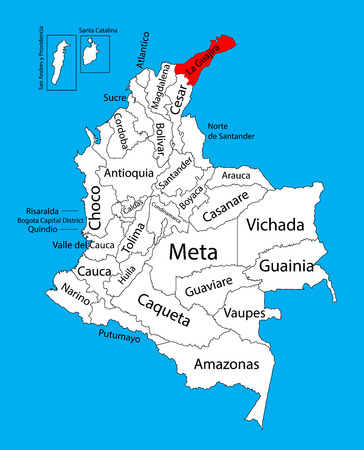 la: Vector map of region of La Guajira, Colombia editable vector map. Administrative divisions of Colombia editable map.