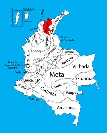 Mapa vectorial de la región de Magdalena, Colombia mapa vectorial editable. Divisiones administrativas de Colombia mapa editable.
