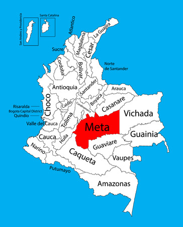Vector map of region of Meta, Colombia editable vector map.  Administrative divisions of Colombia editable map.