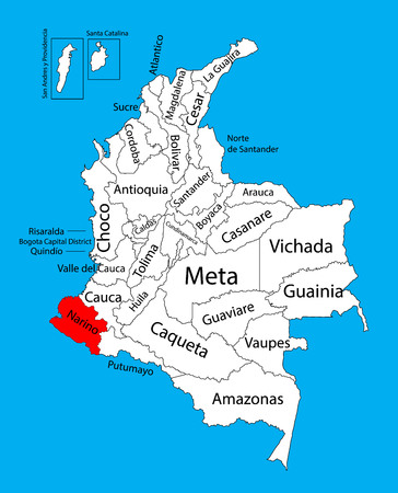 Vector map of region of Narino, Colombia editable vector map. Administrative divisions of Colombia editable map.