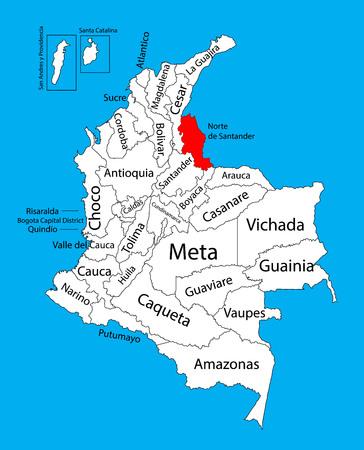 divisions: Vector map of region of Norte de Santander, Colombia editable vector map.  Administrative divisions of Colombia editable map.