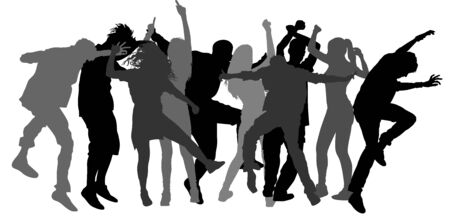 Party dancer people, boys vector silhouette illustration. Nightlife party with crew dancing. Disco club event. Bachelor party.  Birthday celebration. Teenagers in good mood. Fun and entertainment.