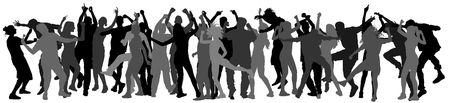 ibiza: Party dancer people, girls and boys vector silhouette illustration. Nightlife party concept with crew dancing.