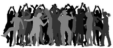clubber: Party dancer people silhouettes.