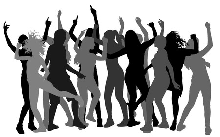 Party dancer people silhouettes.