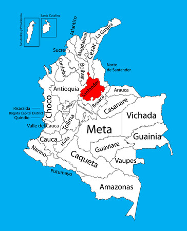 Vector map of region of Santander, Colombia editable vector map.  Administrative divisions of Colombia editable map. Illustration