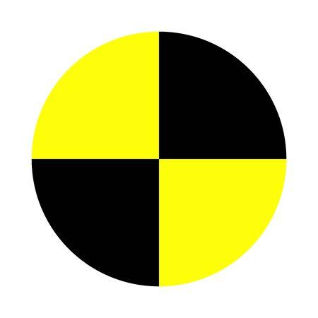 Icono de vector de prueba de choque de coche aislado sobre fondo blanco. Prueba de seguridad de prevención de automóviles. Símbolo de prueba de choque. Coche de seguridad. Seguridad y protección en el tráfico.