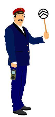 Eisenbahner im einheitlichen Vektor. Eisenbahner im Dienst. Bahnsteigsteuerung an einem Dampfbahnhof. Alter Eisenbahner, der dem Zugpersonal Signale gibt.