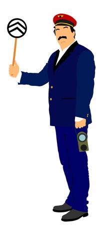Railroader w jednolitym wektorze. Człowiek kolejowy na służbie. Kontroler platformy na kolei parowej.