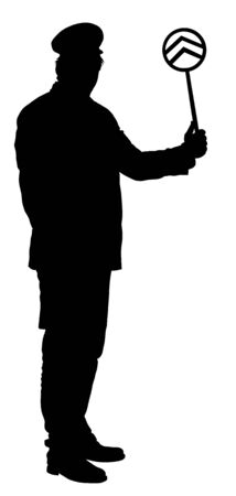 Railroader in uniform vector silhouette. Railway man on duty. Platform controller at a steam railway station. Railway worker traffic controller giving a signals to the train crew. Metro travel concept Imagens - 128226075