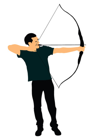Archer vector illustration isolated on white background.