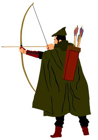 Archer vectorillustratie geïsoleerd op een witte achtergrond. Robin Hood vector. Traditionele jager in jacht.