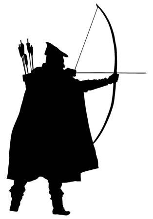 Bogenschütze-Vektor-Silhouette-Illustration isoliert auf weißem Hintergrund. Robin Hood-Silhouette-Vektor. Traditioneller Jäger in der Jagd. Mittelalterlicher Ritter.