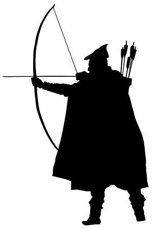 Archer wektorowe sylwetki na białym tle. Wektor sylwetka Robin Hooda. Ilustracje wektorowe