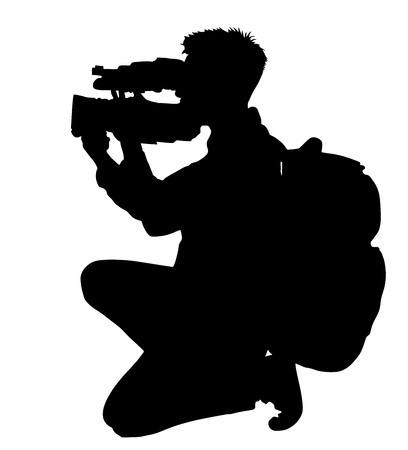 Cameraman vector silhouette with video camera and backpack on event, concert, sport event, isolated on background. Vector illustration. Breaking news in studio. Broadcast live.