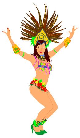 Brazil carnival dancer vector illustration isolated on white background. Rio De Janeiro street carnival.