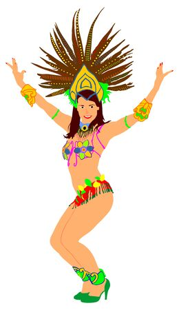 Smiling Brazil carnival dancer vector illustration isolated on white background. Rio De Janeiro street carnival entertainment. Attractive lady in costume ball. Pretty woman sensual erotic dance.