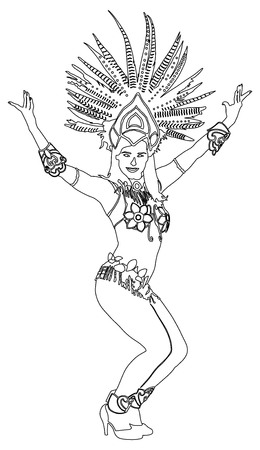 Brazil carnival dancer vector contour silhouette illustration isolated on white background. Rio De Janeiro street carnival.