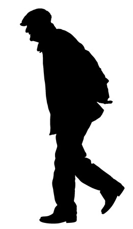 Old man person walking silhouette. Vector character isolated on white background. Senior mature health care. Old people active life. Grandpa vector.