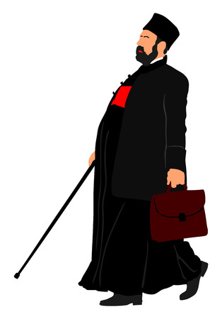 Orthodox Christian priest vector isolated on white background. High detailed illustration.