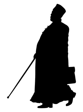 Orthodox Christian priest vector silhouette isolated on white background. High detailed illustration. Islamic priest portrait, Muslim imam vector illustration.
