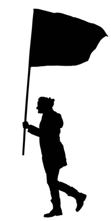 Woman walking with flag vector silhouette illustration isolated on white background. Angry protester on the street. Fighter for labor rights. Human rights agitation. Factory strike, walkout.